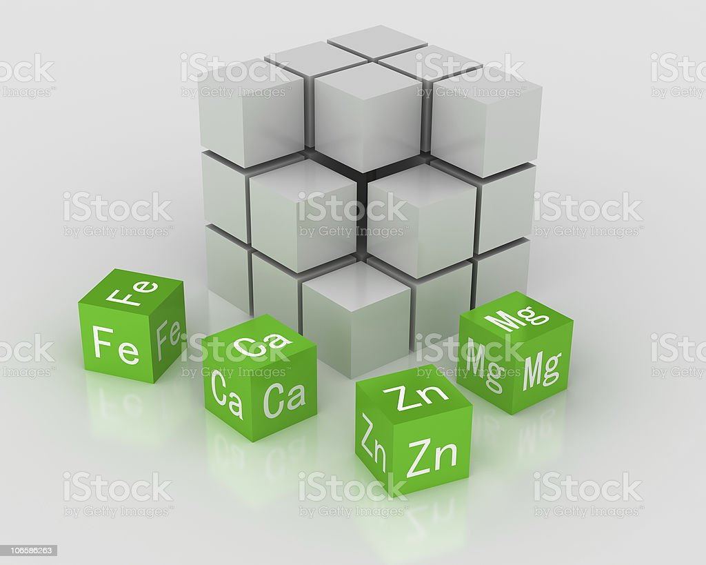 3D cubes of essential elements for body royalty-free stock photo