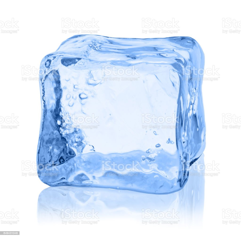 Cubes of ice on a white background. stock photo