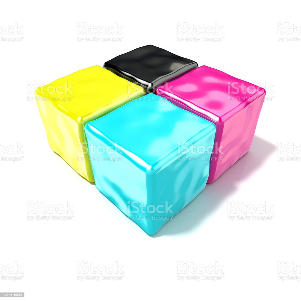 CMYK cubes sign, like symbol of printing. 3D render stock photo