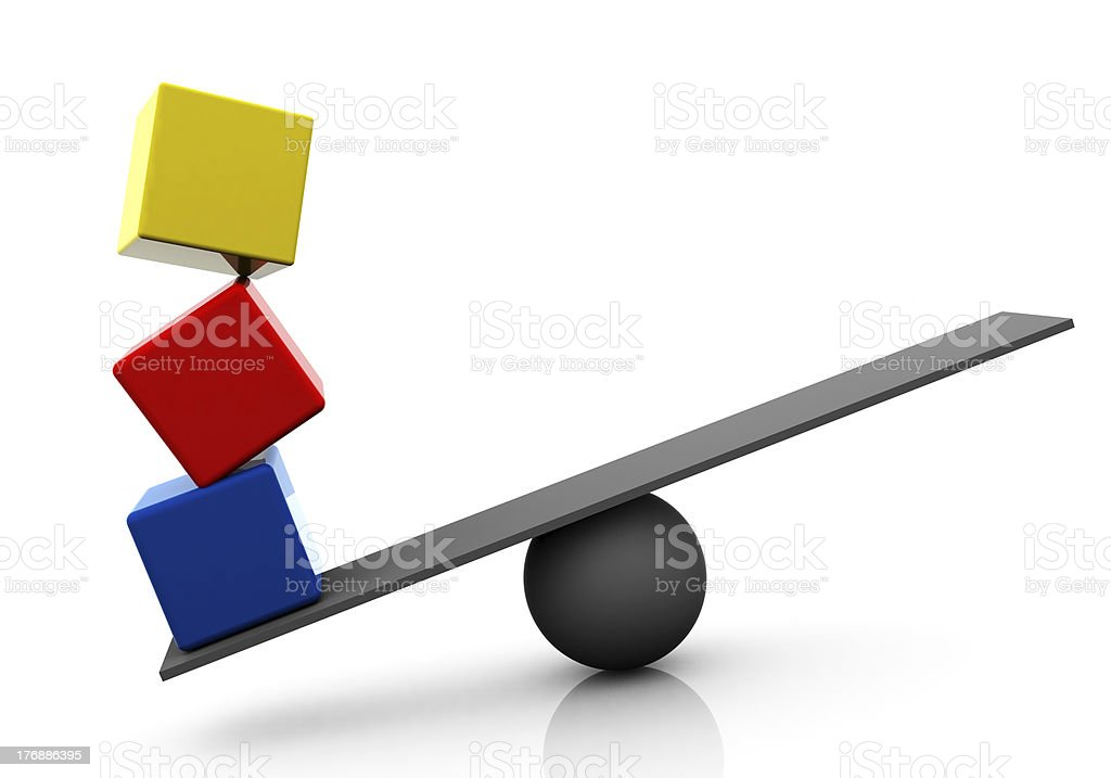 Cubes Weight, Seesaw Balance Concept royalty-free stock photo