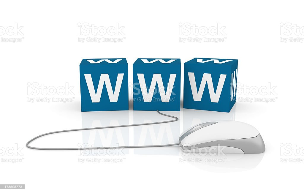 WWW Cubes with Computer Mouse stock photo