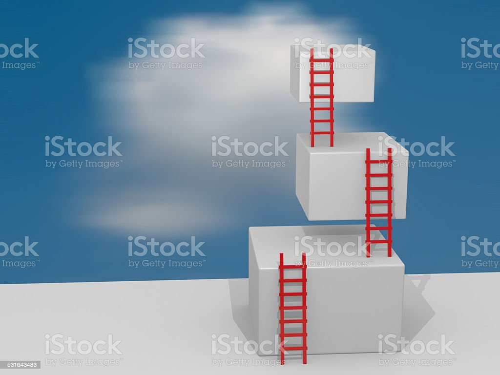 Cubes with ladders. Progress concept stock photo