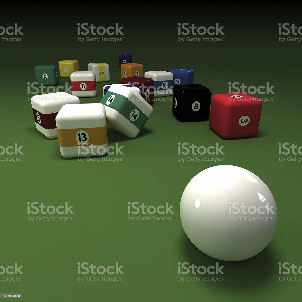 cubic billiard balls stock photo