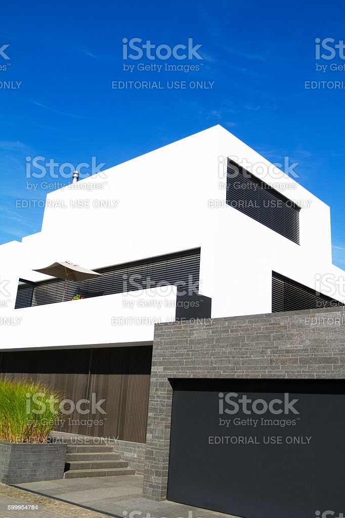 Cubic home with garage stock photo