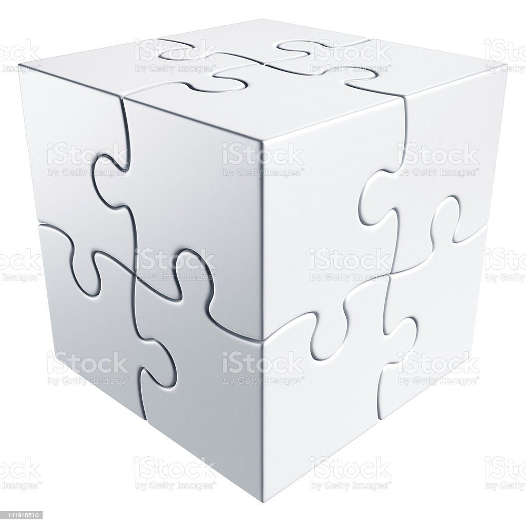 A cubic puzzle on a white background royalty-free stock photo