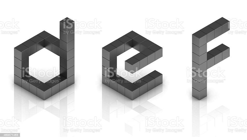 cubical 3d font letters d e f stock photo
