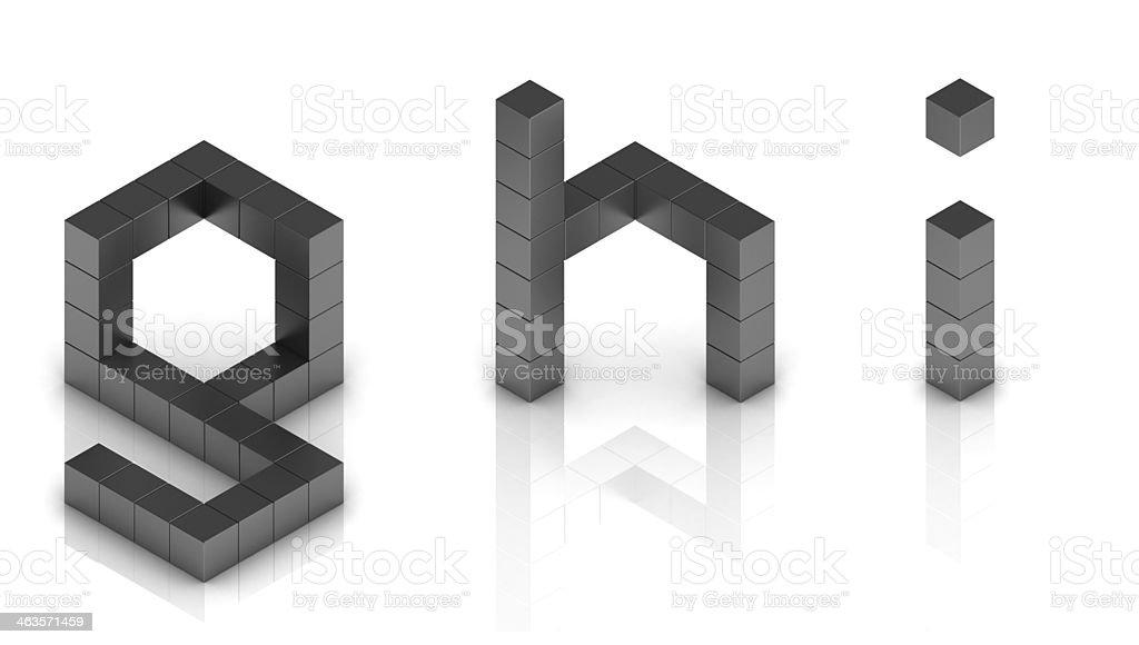 cubical 3d font letters g h i stock photo