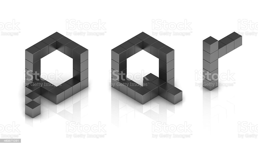 cubical 3d font letters p q r stock photo