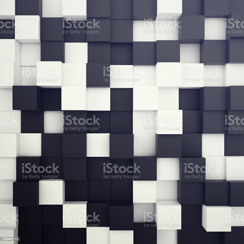 Cubical white and black background. 3d illustration stock photo