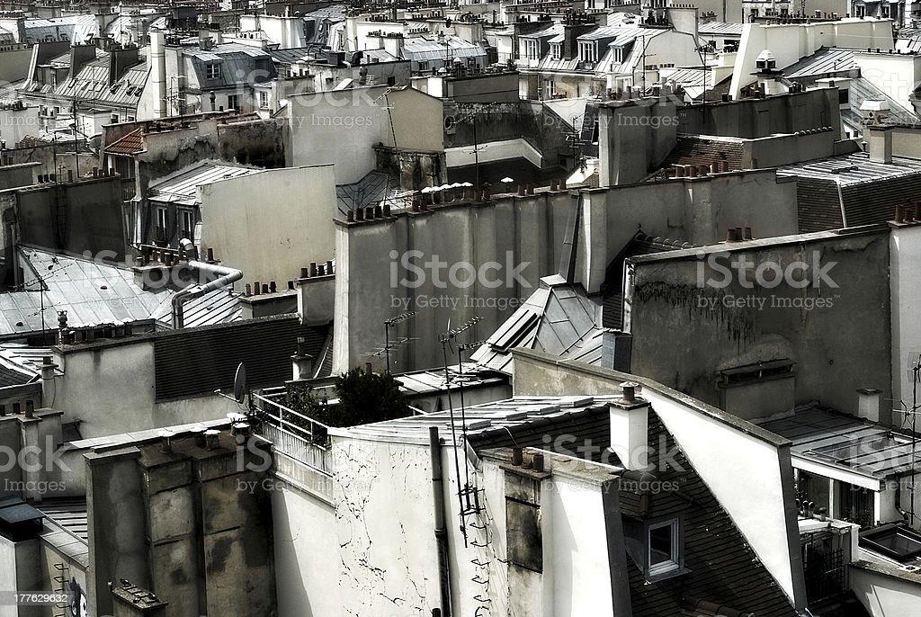 Cubist Fantasy — Rooftop view of Paris stock photo