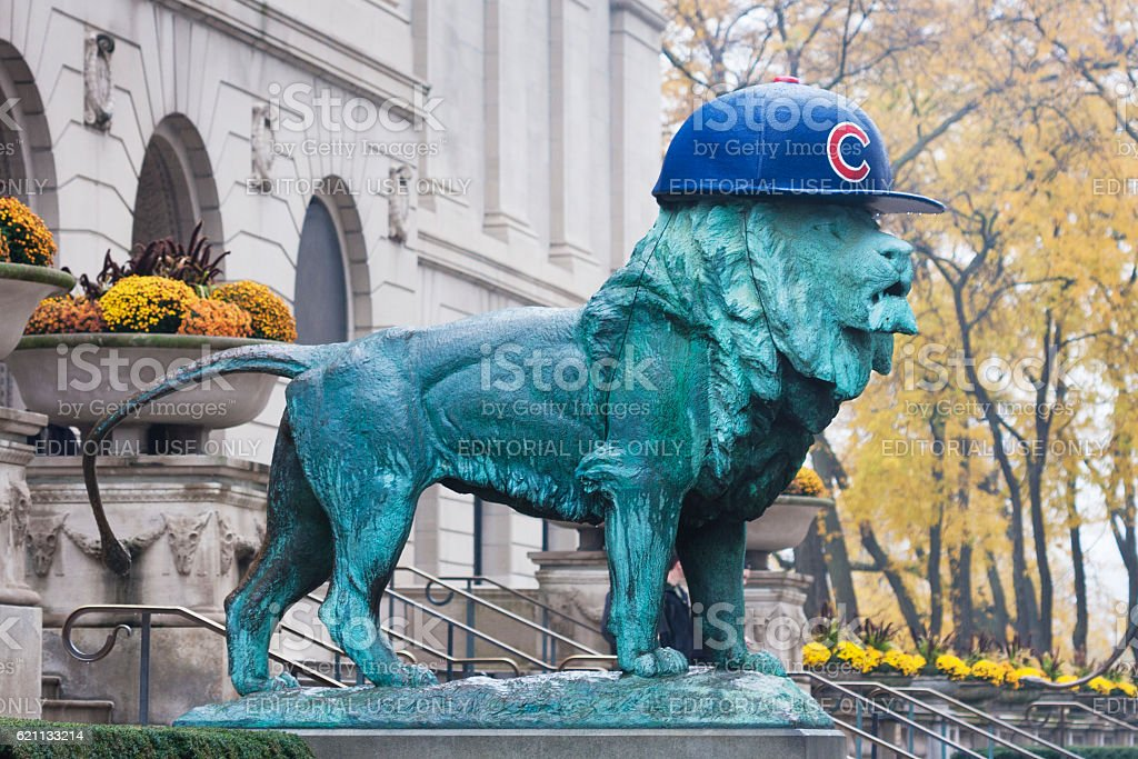 Cubs Lion at the Art Institute stock photo