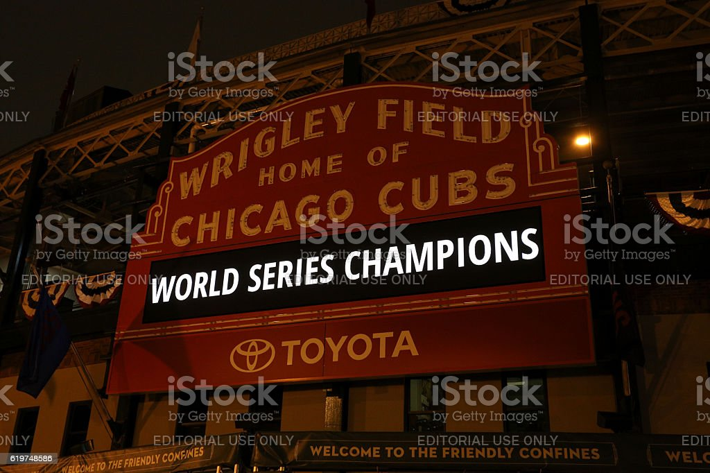 Cubs World Champions stock photo
