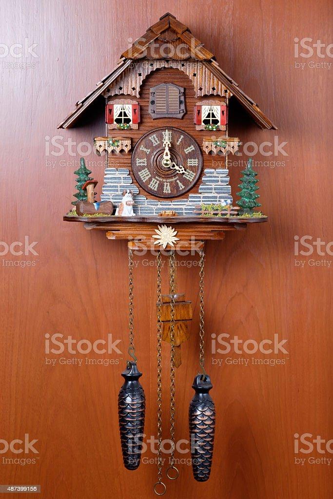 Cuckoo clock with birdie stock photo