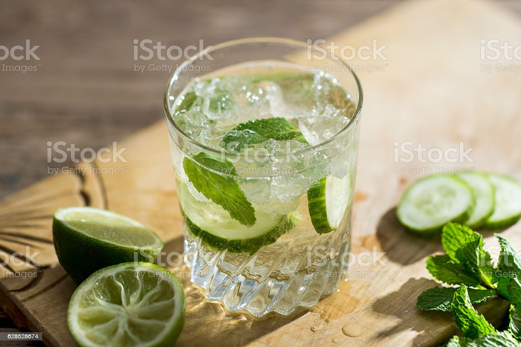 Cucumber and Mint Prosecco Cocktail stock photo