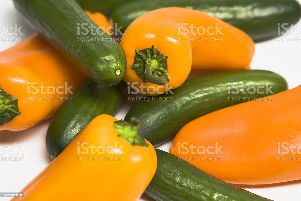 cucumber and paprika stock photo