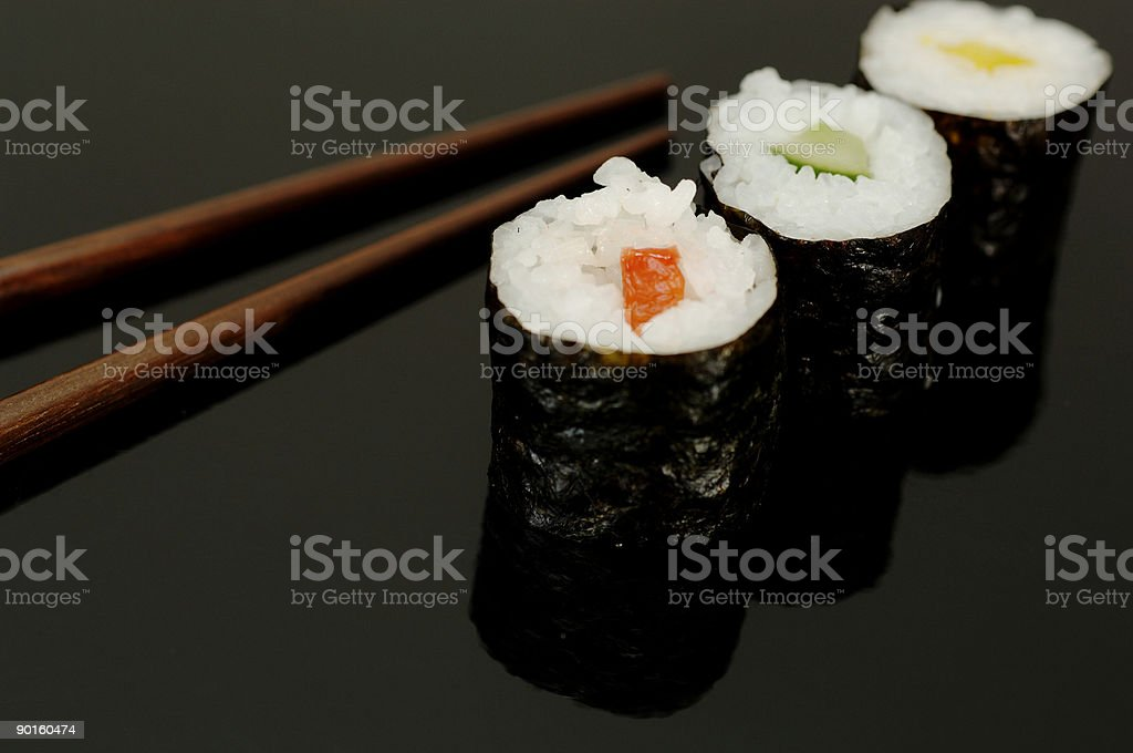 cucumber and red, yellow pepper maki sushi royalty-free stock photo