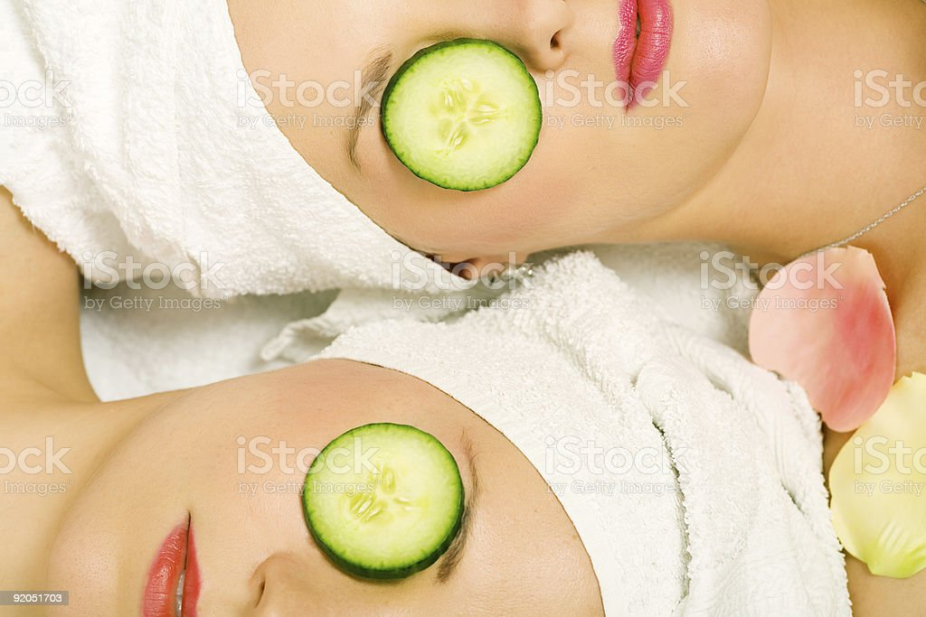 Cucumber beauty girls royalty-free stock photo