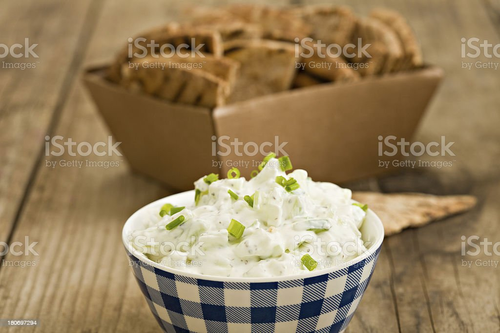 Cucumber Dip And Grilled Pita royalty-free stock photo