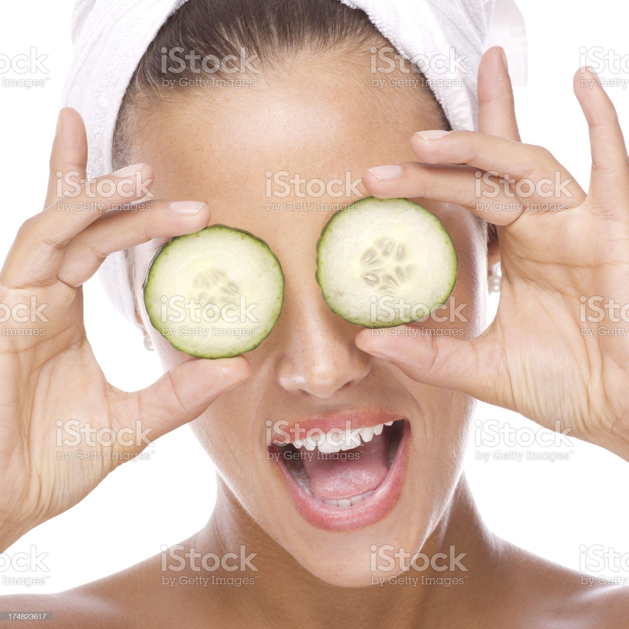 Cucumber eyes - facial mask. royalty-free stock photo