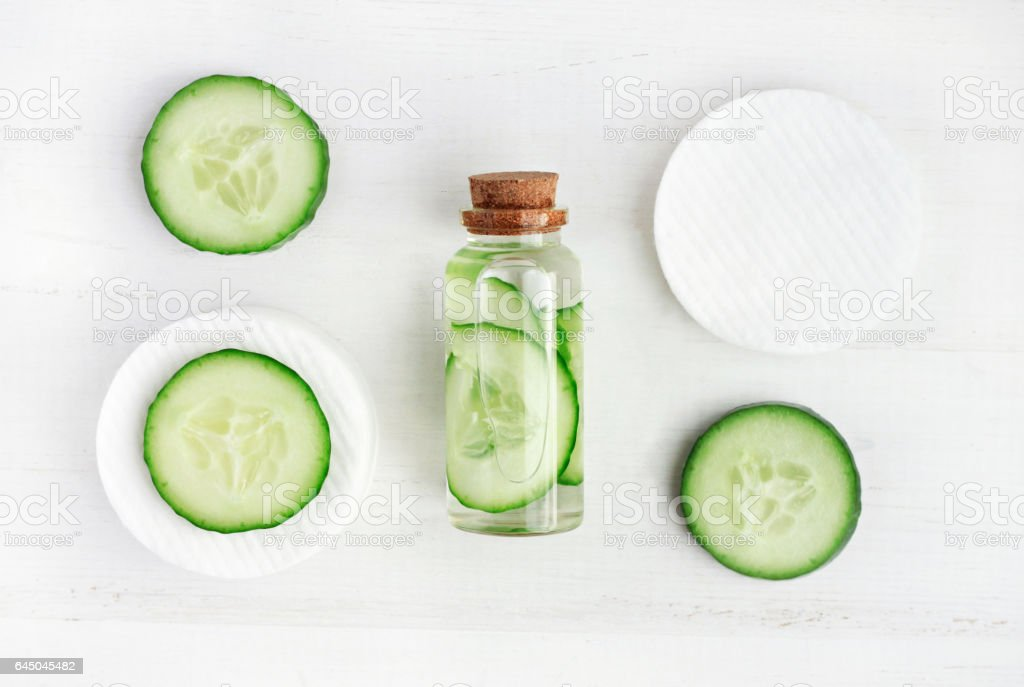 Cucumber fresh facial tonic stock photo