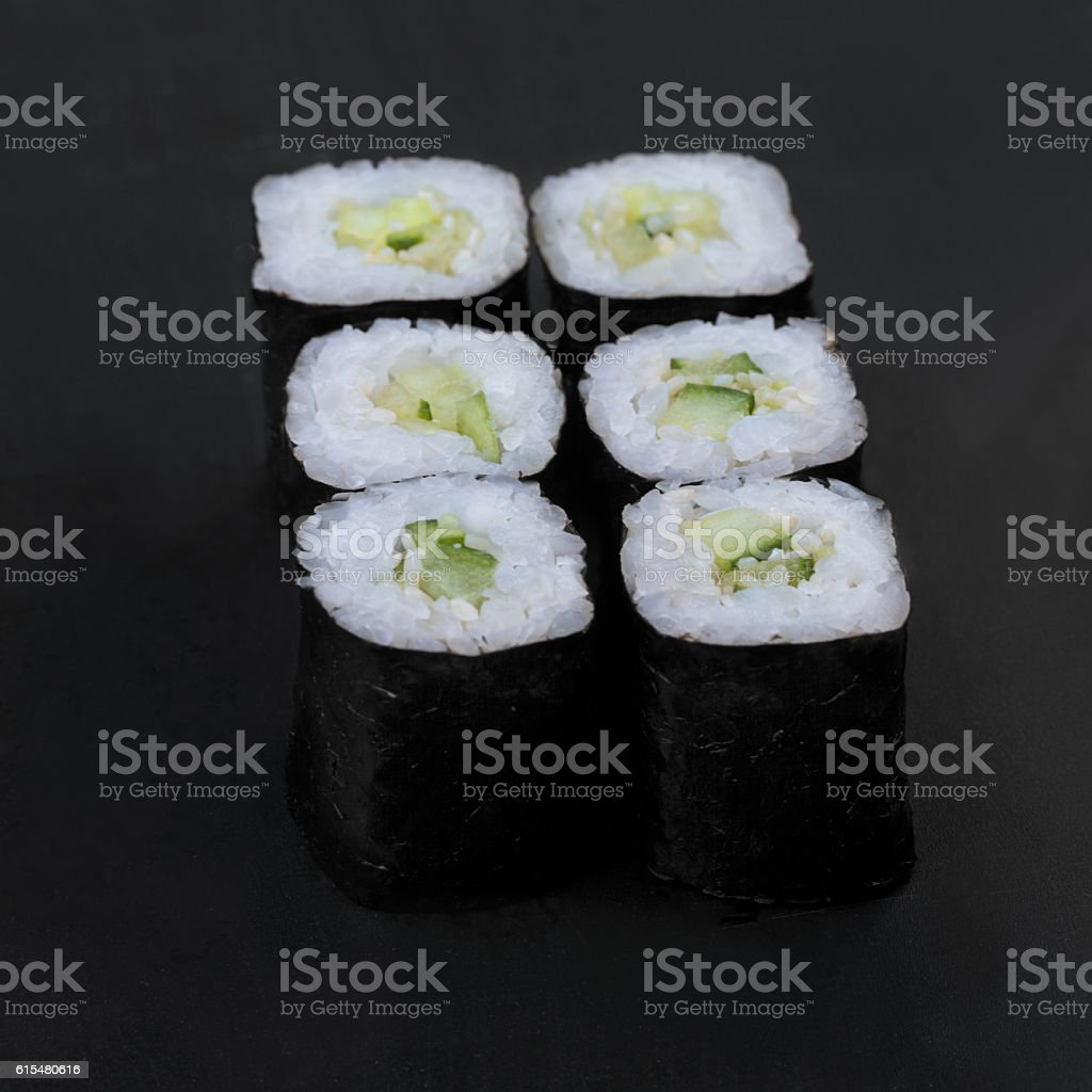 Cucumber nori rolls stock photo