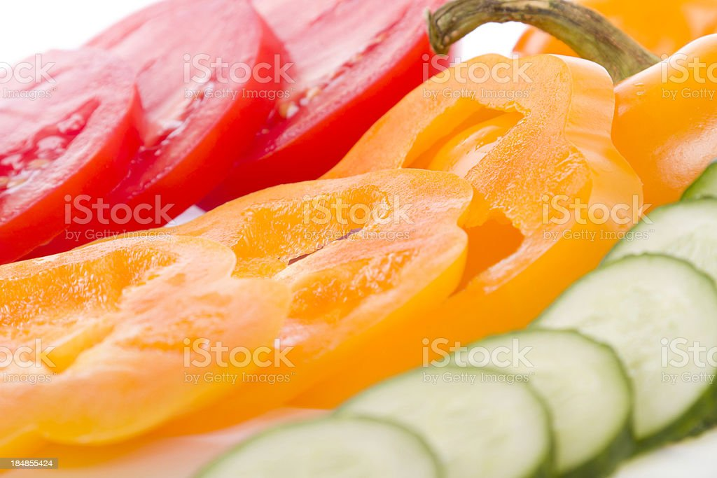 cucumber, pepper and tomato royalty-free stock photo