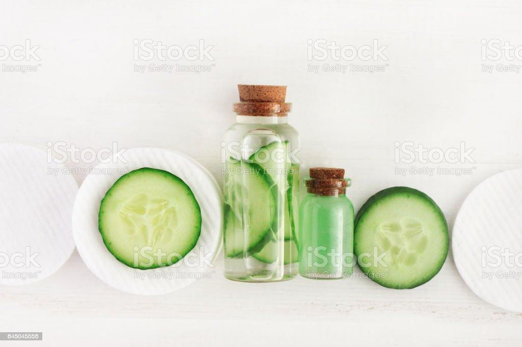 Cucumber refreshing diy facial tonic in bottle stock photo
