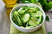 Cucumber salad in white bowl
