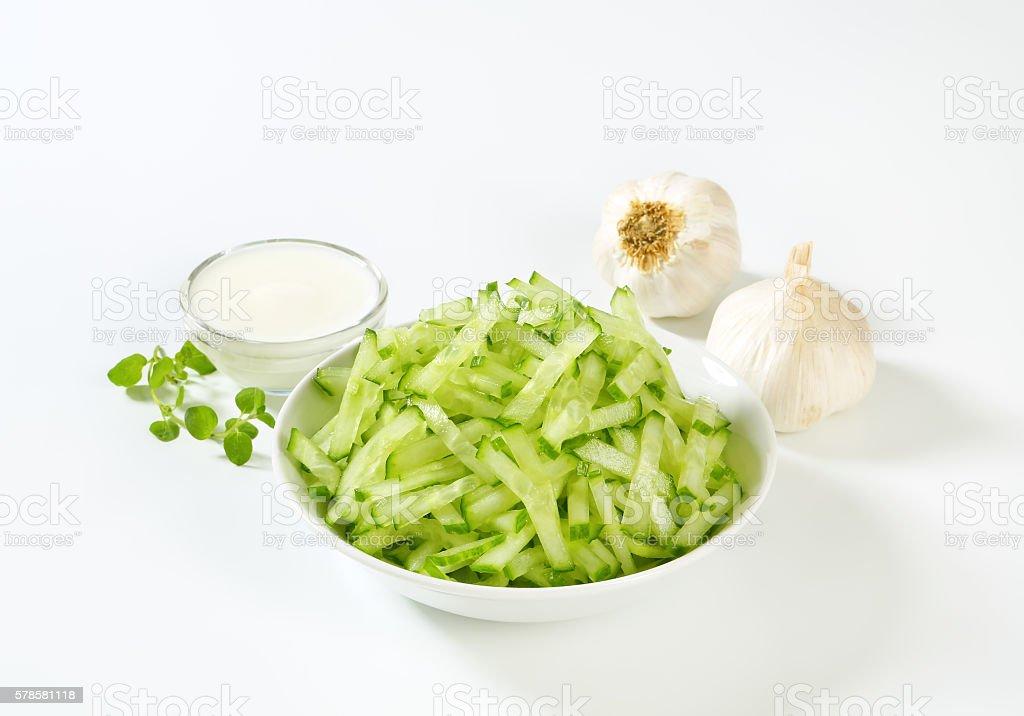 Cucumber salad with cream stock photo