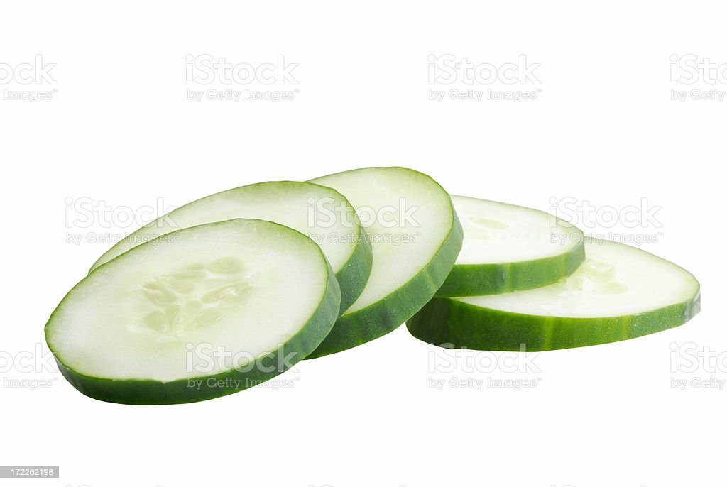 Cucumber slices with clipping path. royalty-free stock photo