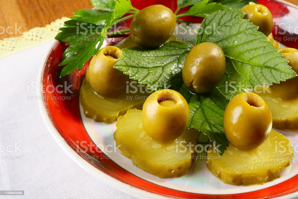 Cucumbers and olives royalty-free stock photo
