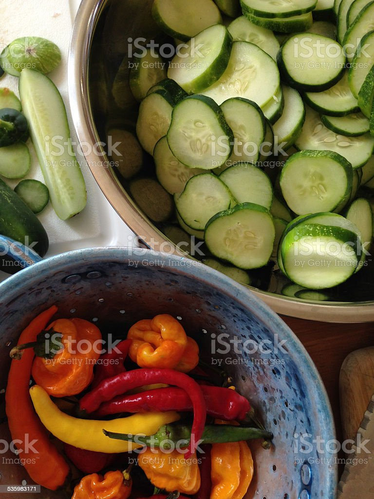 Cucumbers and Peppers royalty-free stock photo