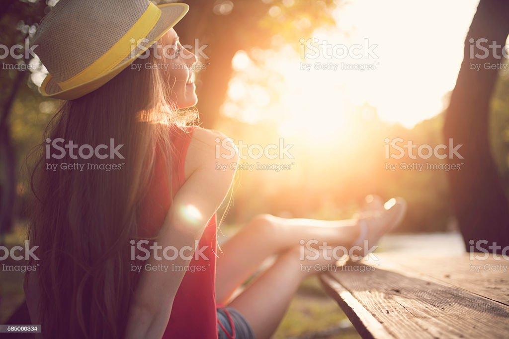 Cuddle with sunbeam stock photo