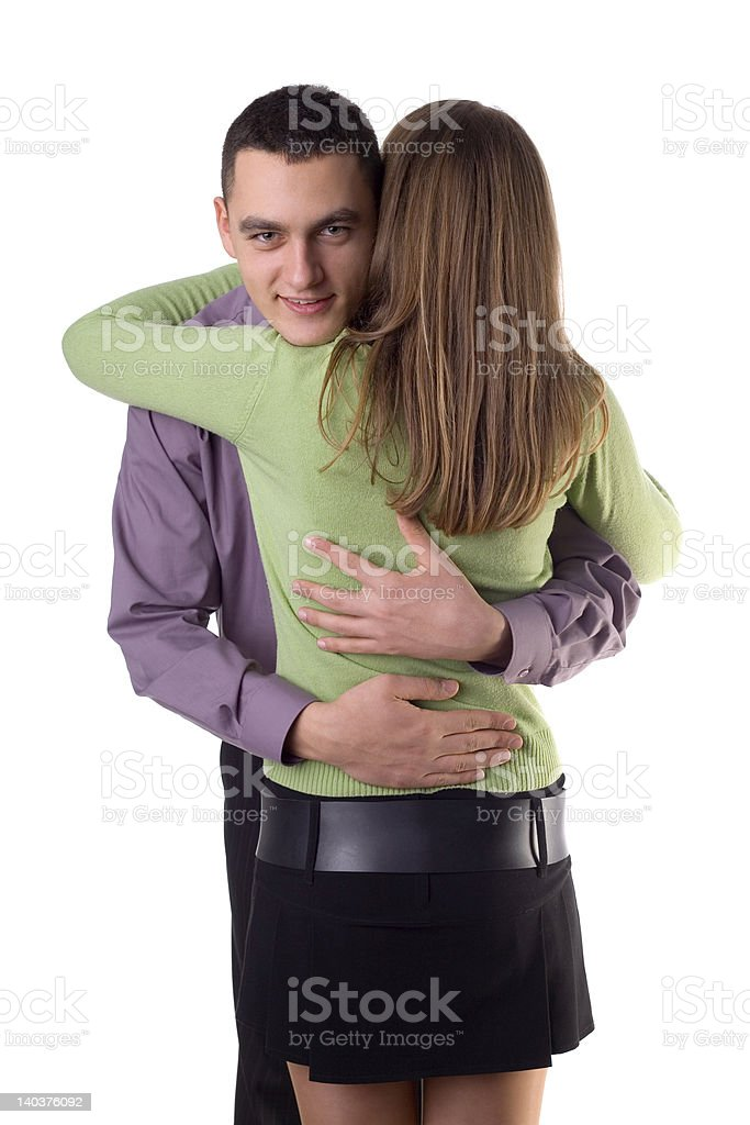 Cuddling couple - man's face to the camera. royalty-free stock photo