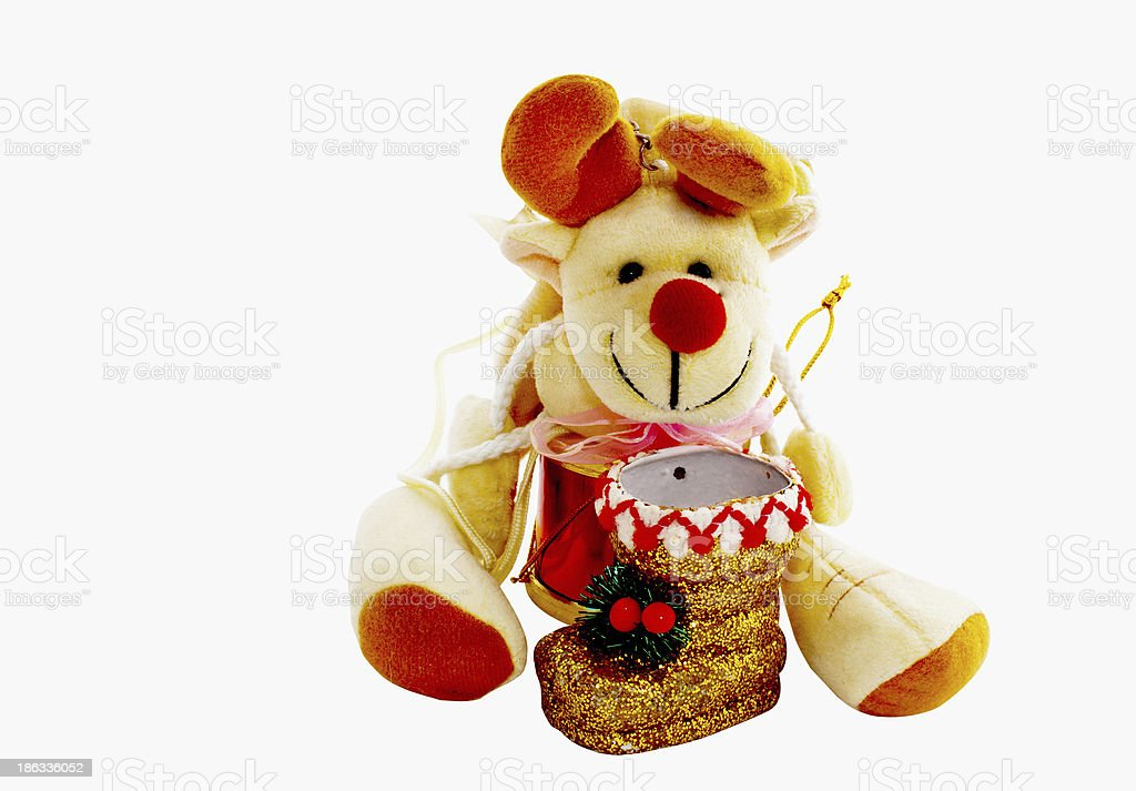 Cuddly Toy With Gold Christmas Boot stock photo