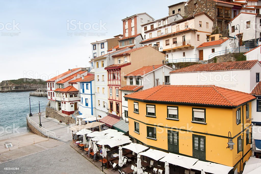 Cudillero townscape, multicolored houses and sea in Asturias, Spain. stock photo