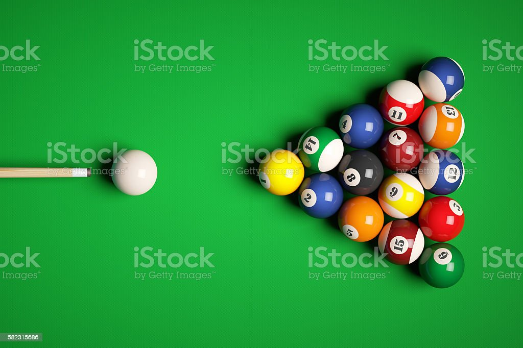 Cue aim billiard snooker pyramid on green table. stock photo