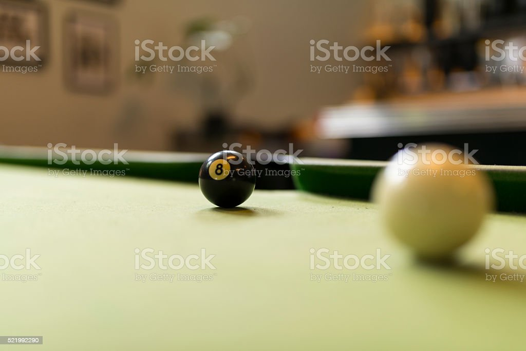 Cue Ball and Eight Ball on Pool Table stock photo