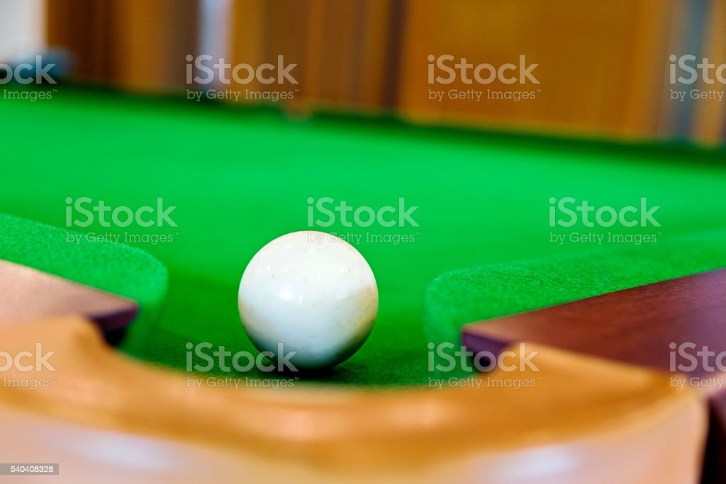Cue ball on a snooker table stock photo