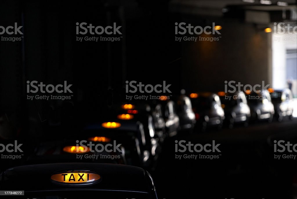 Cue of London Taxi's stock photo