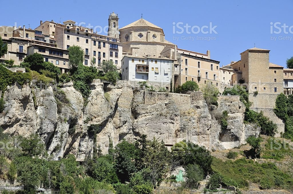 Cuenca houses hanging on the cliff stock photo