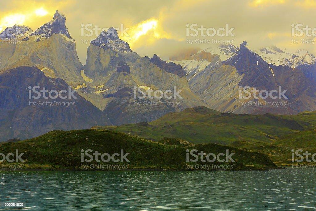 Cuernos - Horns del Paine in Torres del Paine, Patagonia, Chile stock photo