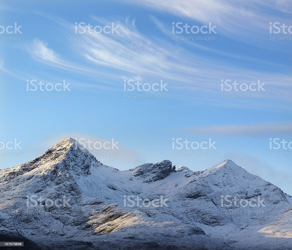 Cuillin Mountain Ridge with cirrus clouds, Skye, Scotland royalty-free stock photo