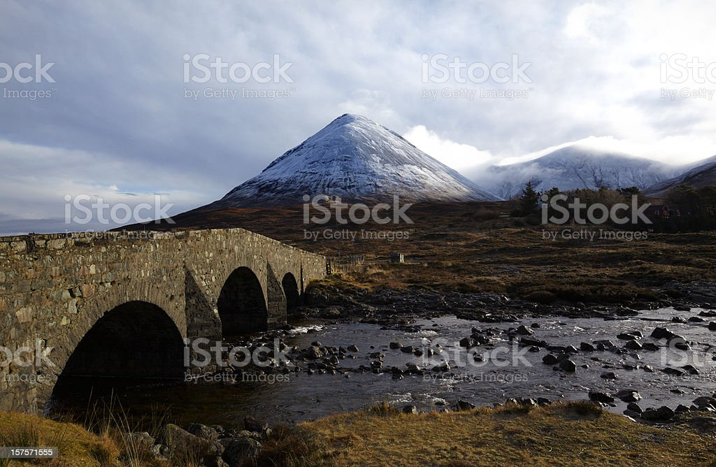 Cuillin Mountains and Sligachan Bridge, Skye, Scottish Highlands royalty-free stock photo