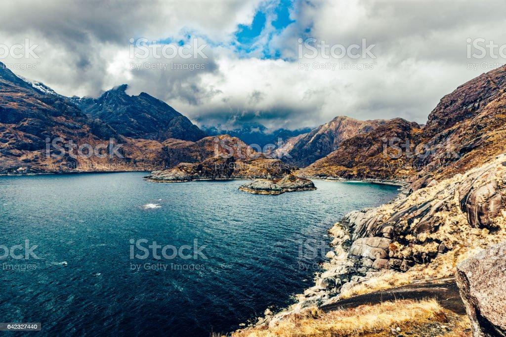 Cuillins of Skye, Scotland, from the rocky Coruisk coastline stock photo