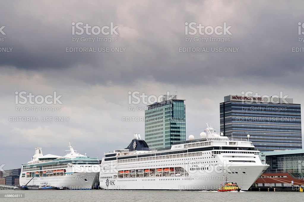 Cuise ships Amsterdam royalty-free stock photo