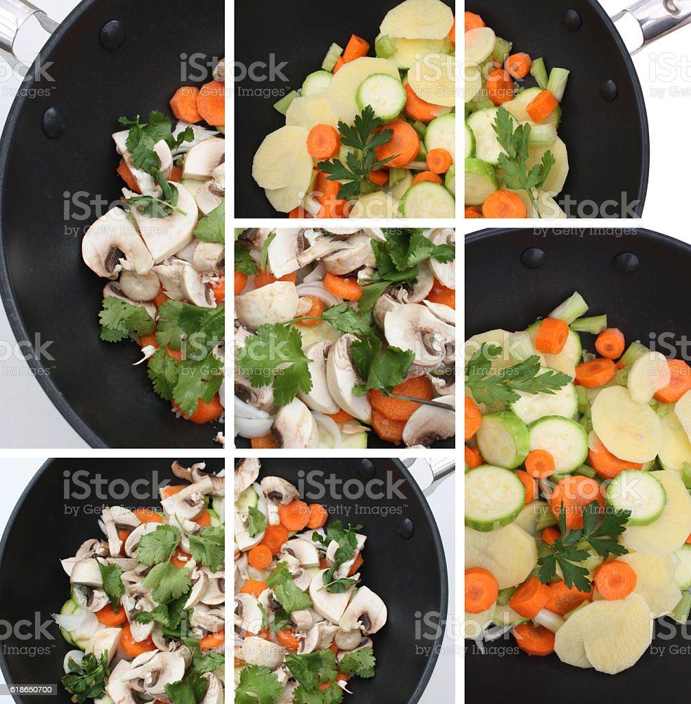 Cuisine végétarienne au Wok stock photo