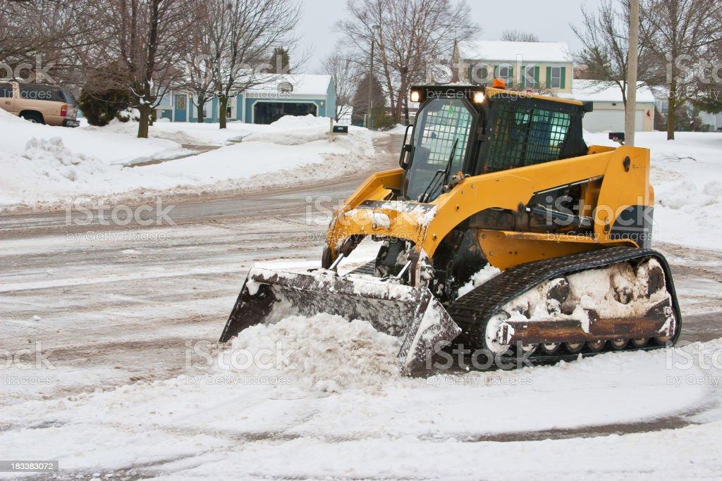cul de sac snow cleanup stock photo