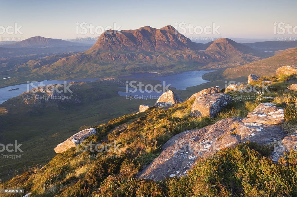 Cul Mor at sunset stock photo