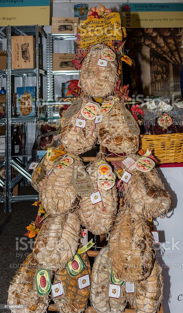 Culatello di Zibello exhibited during 'Terra Madre-Salone del Gusto' stock photo